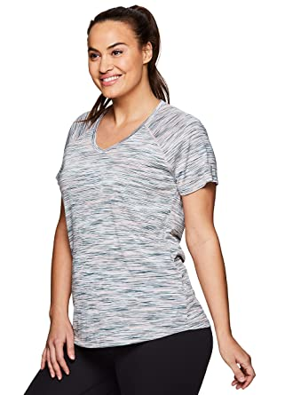 5ce97bf5de RBX Active Women's Plus Size Striated V-Neck Short Sleeve Top S.19 Green