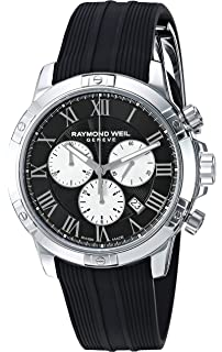 Raymond Weil Mens Tango Stainless Steel Quartz Watch with Rubber Strap, Black, 20 (