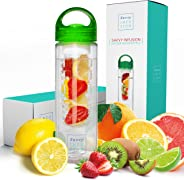 Savvy Infusion Water Bottles - 24 or 32 Ounce Fruit Infuser Bottle - Featuring Unique Leak Proof Silicone Sealed Cap with Ha