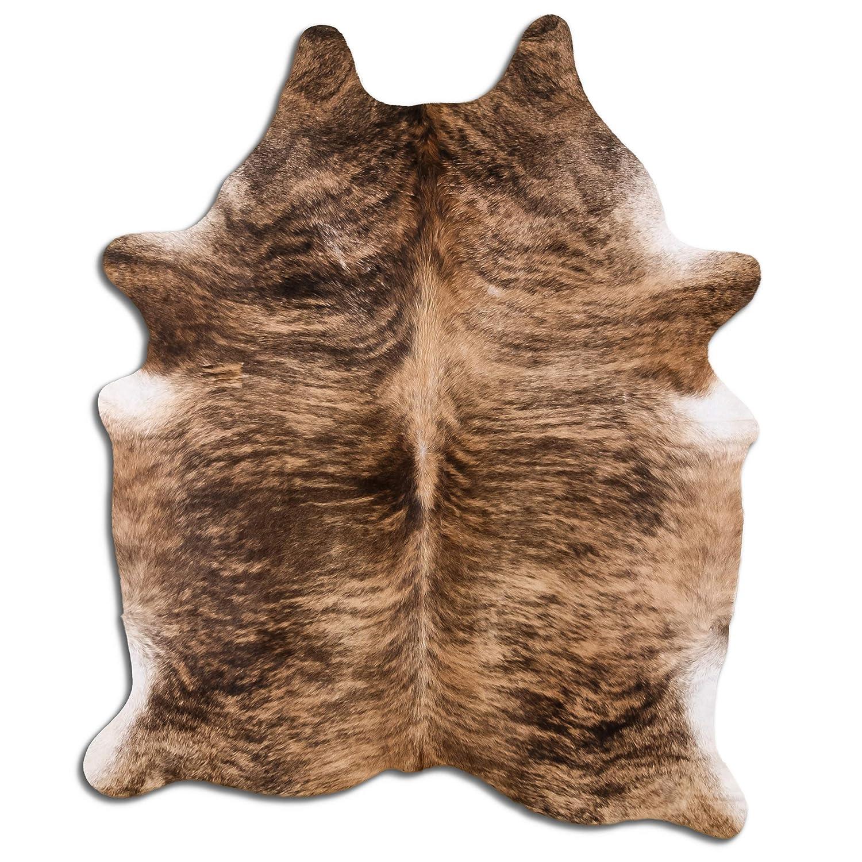Kayembe Premium Kuhfell Teppich - L213 x B185 cm - Sand Creme schwarz gestreift - einmaliges Naturprodukt aus Südamerika