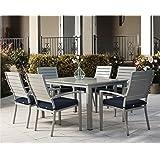 Cosco Outdoor 7 Piece Blue Veil Brushed Aluminum Patio Set with Aluminum Frame & Navy Blue Cushions