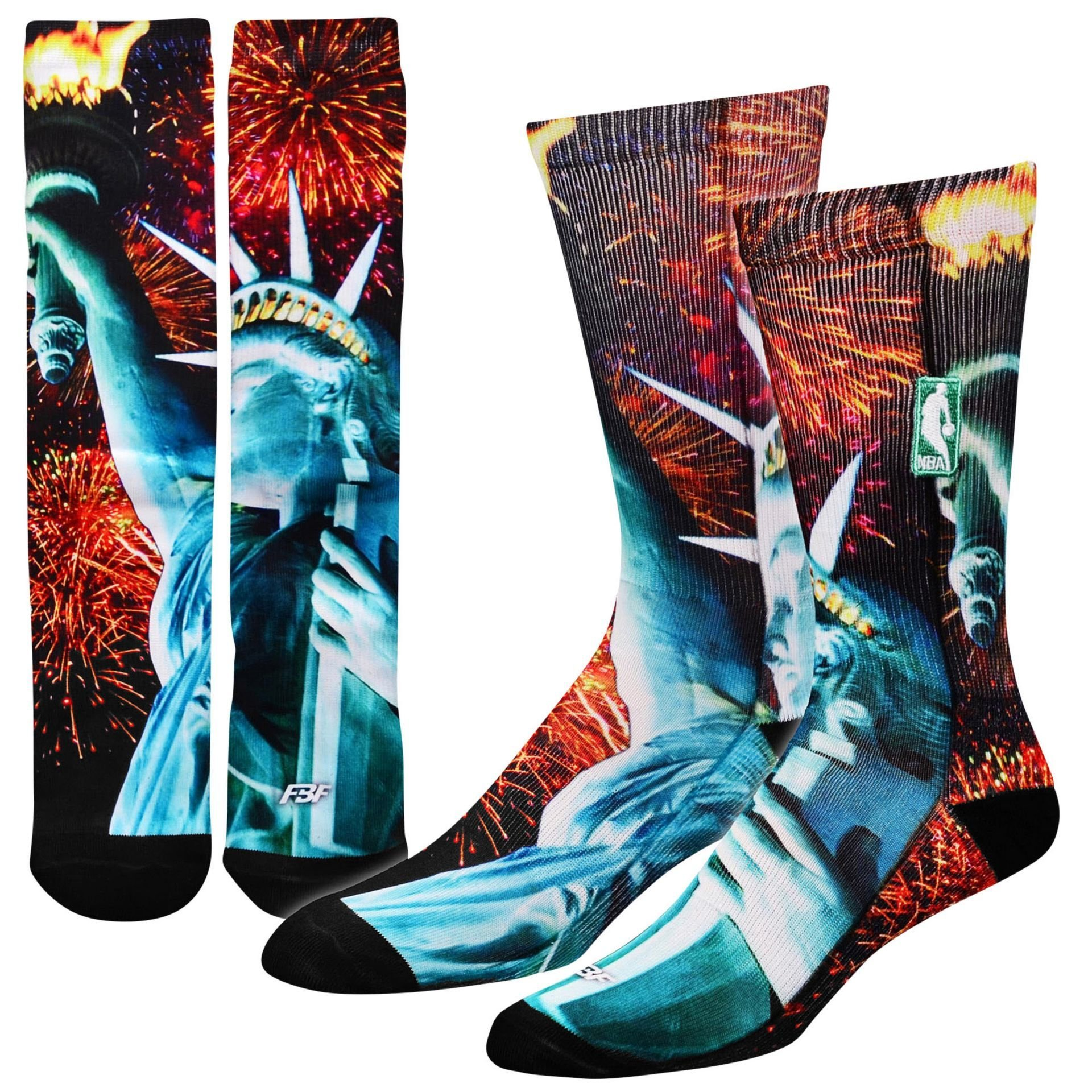 FBF Men's For Bare Feet NBA Sublimated Crew Socks Large (10-13) Statue Of Liberty