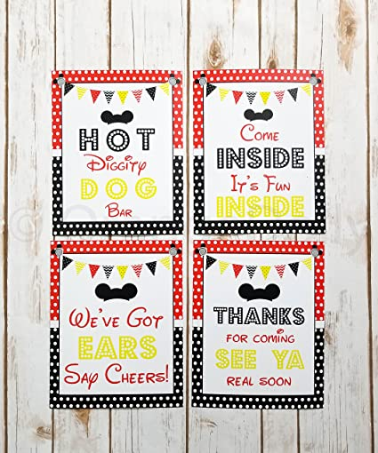 Set Of 4 Mickey Party Sign