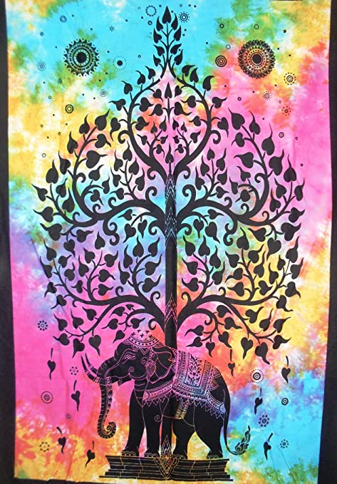 Boho Wall Decor Hippie Wall Art Tie Dye Indian Poster Traditional Jaipur Tree of Life Tapestry Wall Hanging Bohemian Dorm Decor