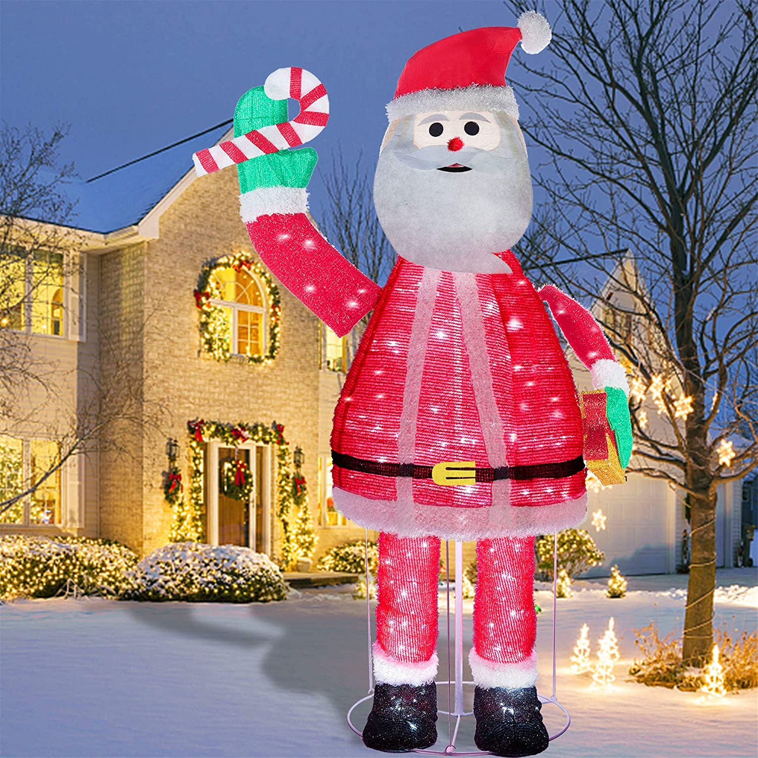 Juegoal 6FT Pop Up Christmas Santa Claus Decorations, Pre-Lit Light Up 200 LED Cool White Lights, Collapsible Easily Metal Stand Easy-Assembly Reusable for Holiday Xmas Indoor Outdoor Decor