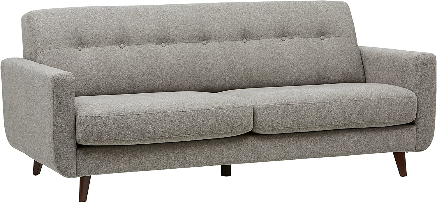 "Rivet Sloane Mid-Century Modern Sofa with Tufted Back, 79.9""W, Pebble"