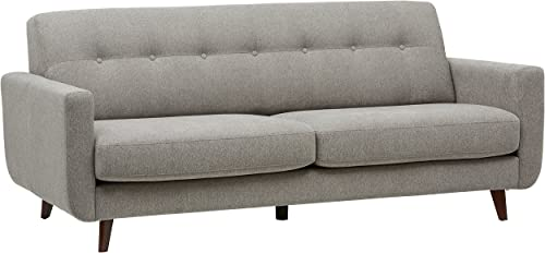 Amazon Brand Rivet Sloane Mid-Century Modern Sofa with Tufted Back, 79.9 W, Pebble