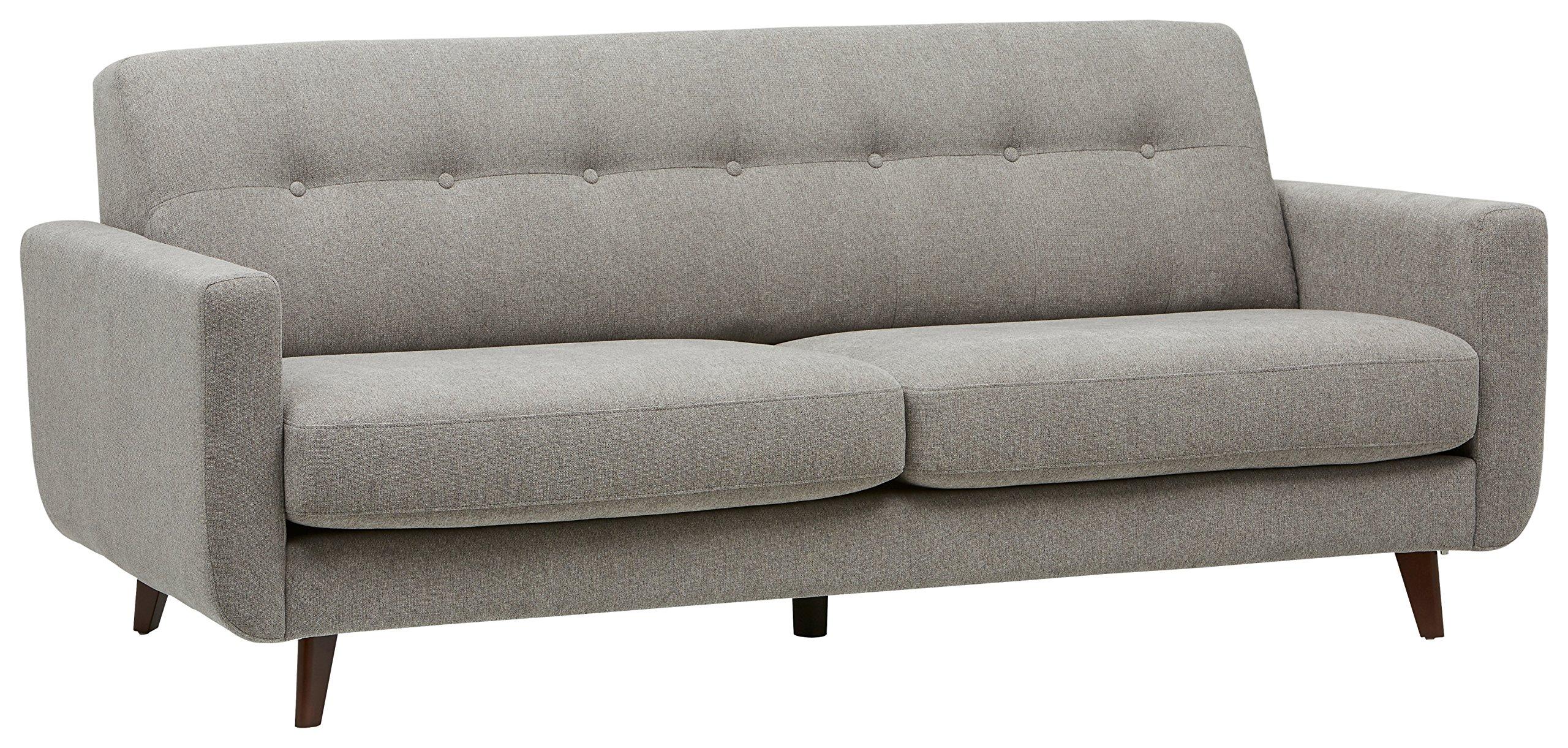 Rivet Sloane Mid-Century Modern Sofa with Tufted Back, 79.9''W, Pebble by Rivet
