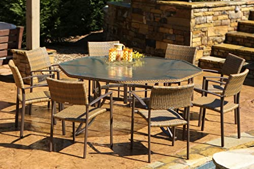 Tortuga Maracay 9 Piece Patio Dining Set in Tree Bark Wicker