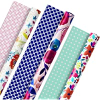 Hallmark All Occasion Reversible Wrapping Paper (Feminine Florals, Pack of 3, 120 sq. ft. TTL.) for Birthdays, Bridal…