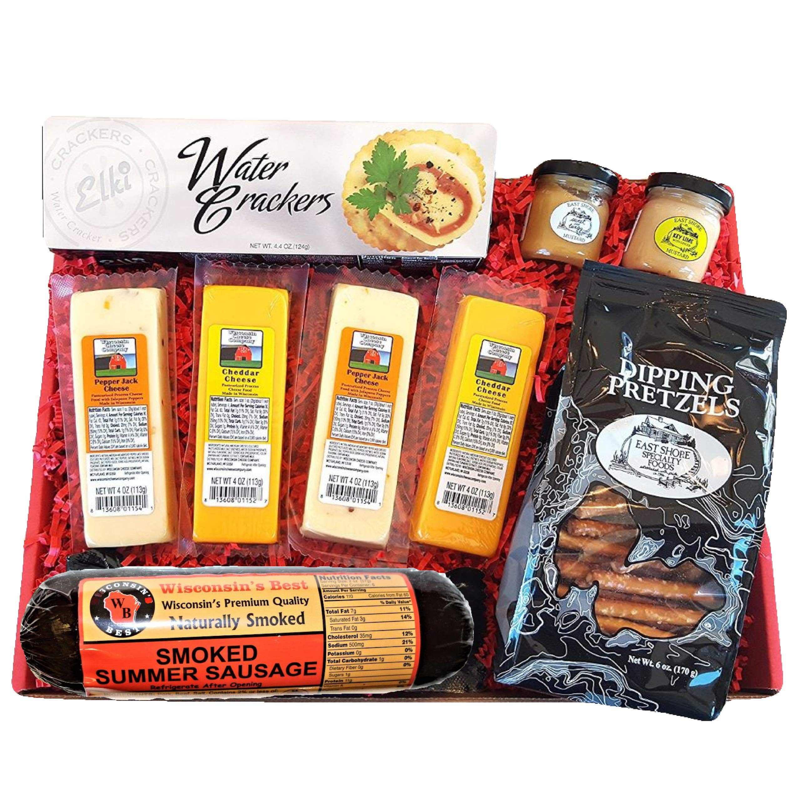 Holiday Specialty Gift Basket - features Smoked Summer Sausages, 100% Wisconsin Cheeses, Crackers, Pretzels & Mustard | A Great Snack or Gift Basket for Family & Friends.