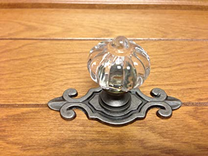 Sonoma Cabinet Hardware Roman Knob Antique Pewter With Fleur De Lis  Backplate Solid Brass