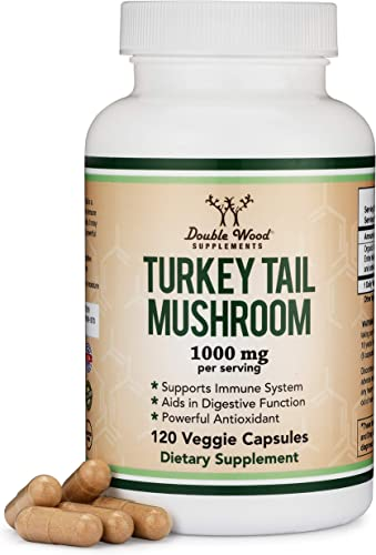 Turkey Tail Mushroom Supplement 120 Capsules – 2 Month Supply Coriolus Versicolor Comprehensive Immune System Support, Organic, Non-GMO, Gluten Free, Made in The USA by Double Wood Supplements