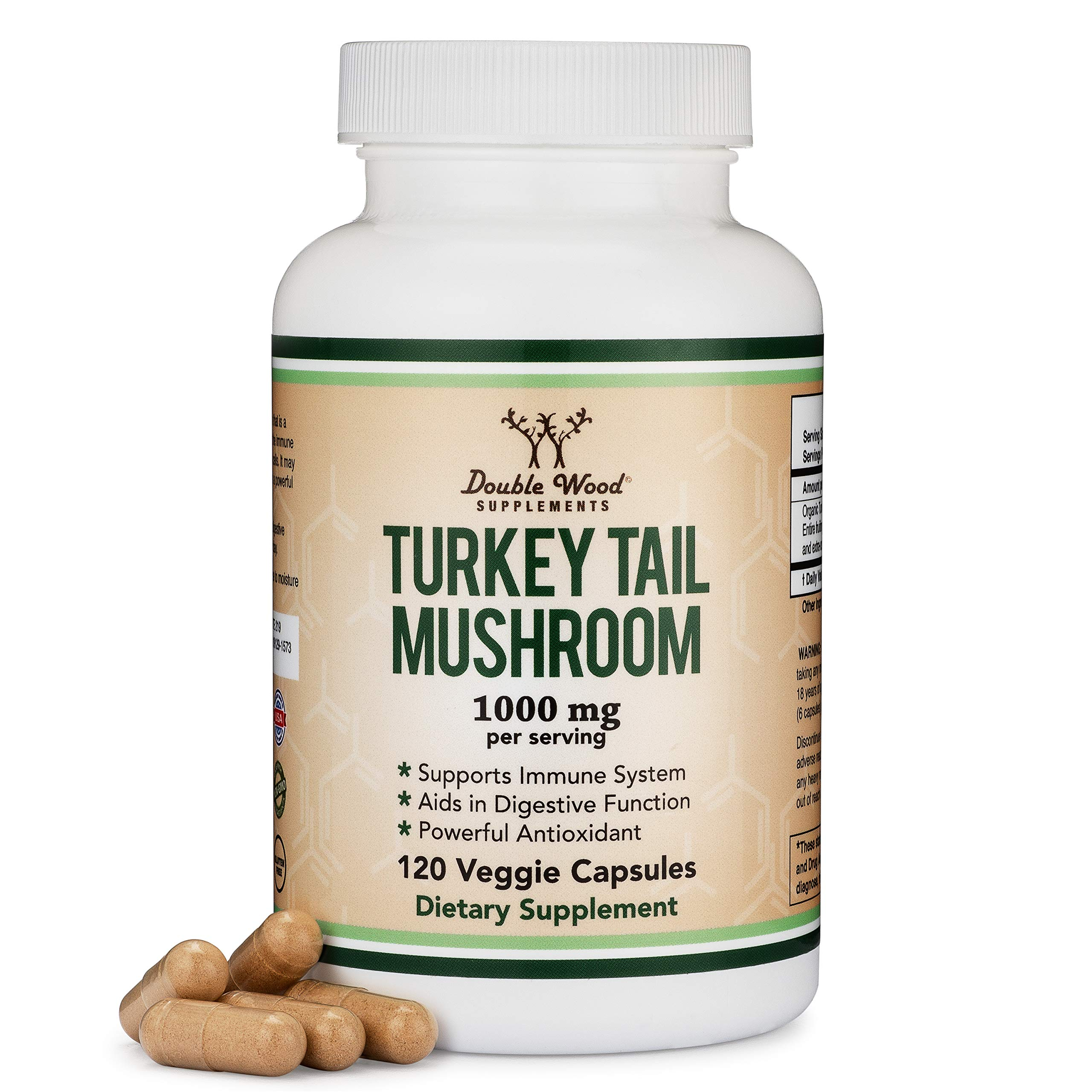 Turkey Tail Mushroom Supplement (120 Capsules - 2 Month Supply) (Coriolus Versicolor) Comprehensive Immune System Support, Non-GMO, Gluten Free, Made in The USA by Double Wood Supplements