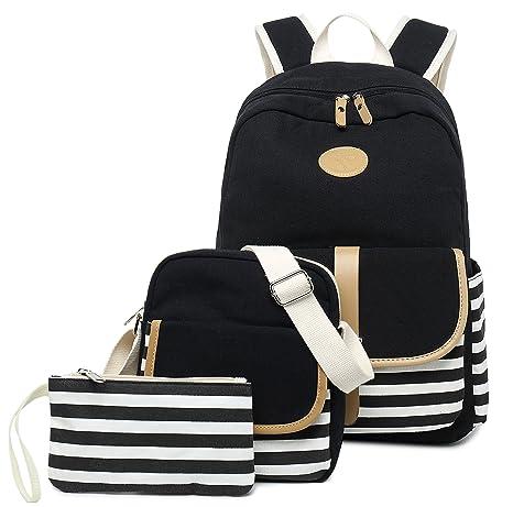 6efb67b1595 FLYMEI Lightweight Canvas Backpack Teens Backpack Boys and Girls School Bag  Bookbags Set 3 in 1