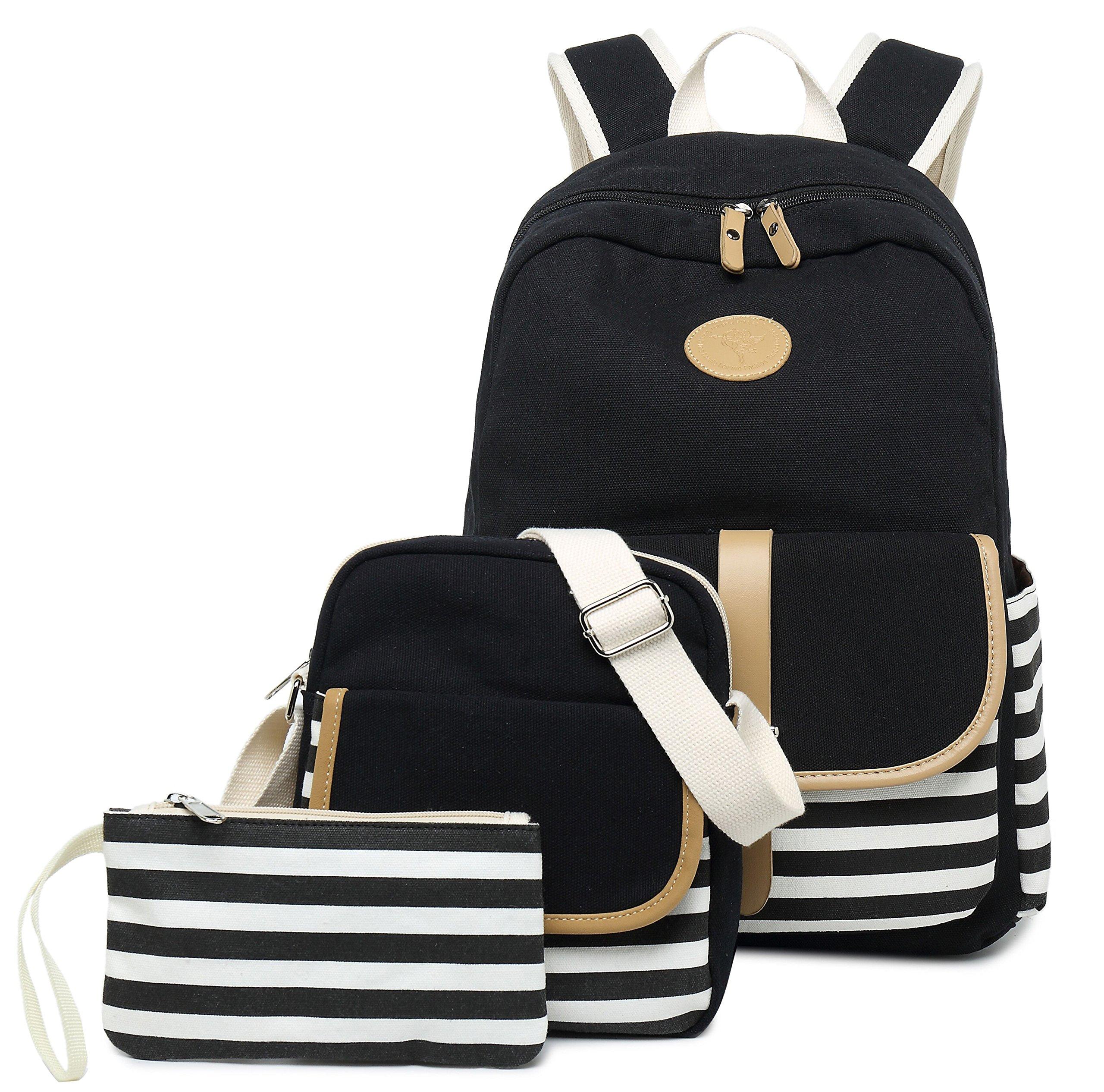 Lightweight Canvas Backpack Teens Backpack Boys and Girls School Bag Bookbags Set 3 in 1 Travel Daypack 14Inch Laptop Backpack, Black