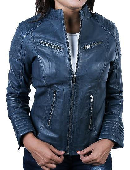 Urban Leather Corto Biker - Chaqueta de piel, Mujer, azul, extra-large