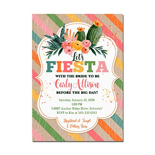 cactus fiesta bridal shower invitations set of 10 5x7 invitations with white envelopes