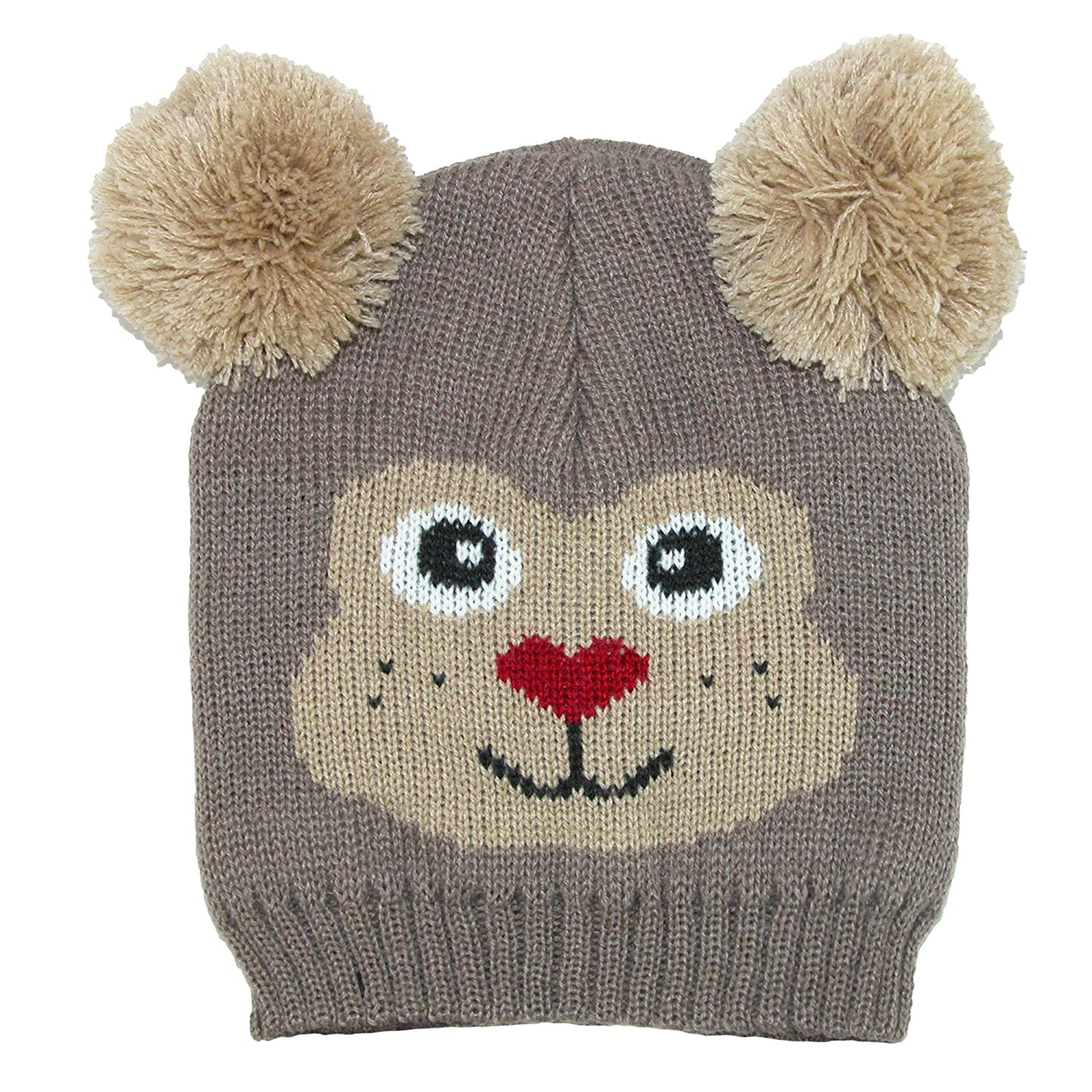 0d13db9ad6d CTM Kids  Knit Animal Face Hat with Poms  Amazon.co.uk  Clothing