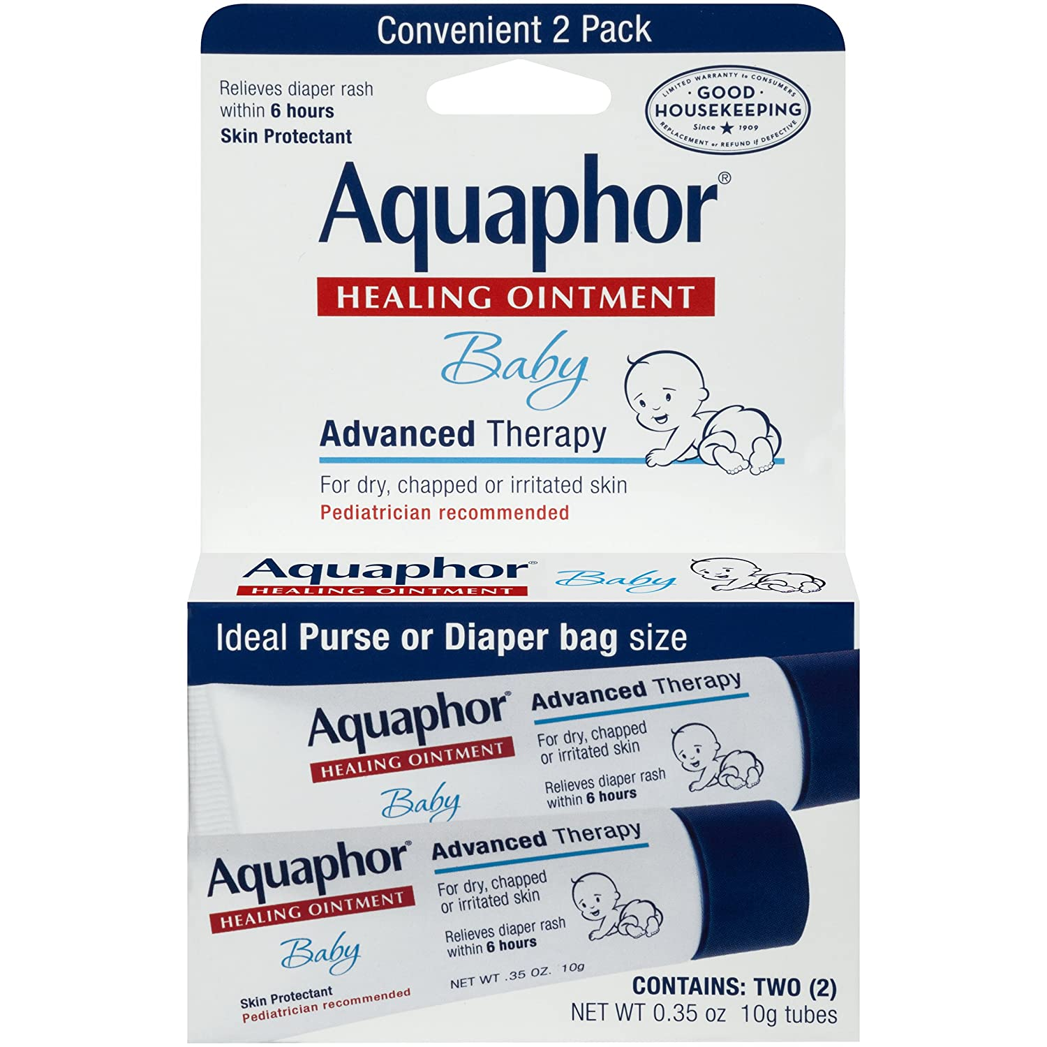 Aquaphor Baby Advanced Therapy Healing Ointment Skin Protectant 2-.35 Ounce Tubes AQP11047