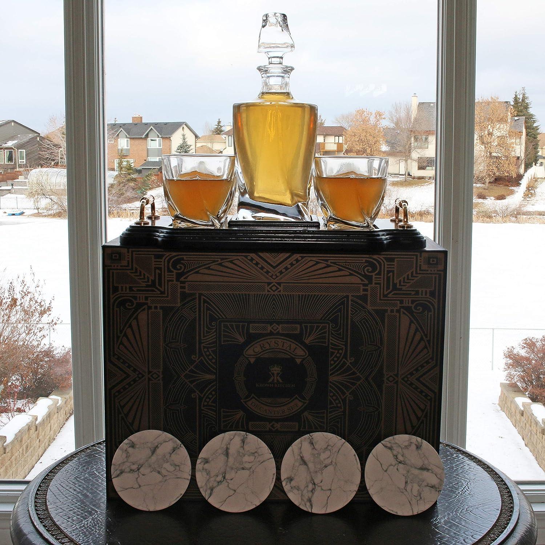 Krown Kitchen 4-teiliges Whisky Gl/äser Set /— Highball-Rocks-Glasbecher-Whiskey-Set/—perfekt f/ür Bourbon 300ml Kapazit/ät Cocktails und Scotch Enth/ält Geschenkbox und Keramik-Stein-Untersetzer