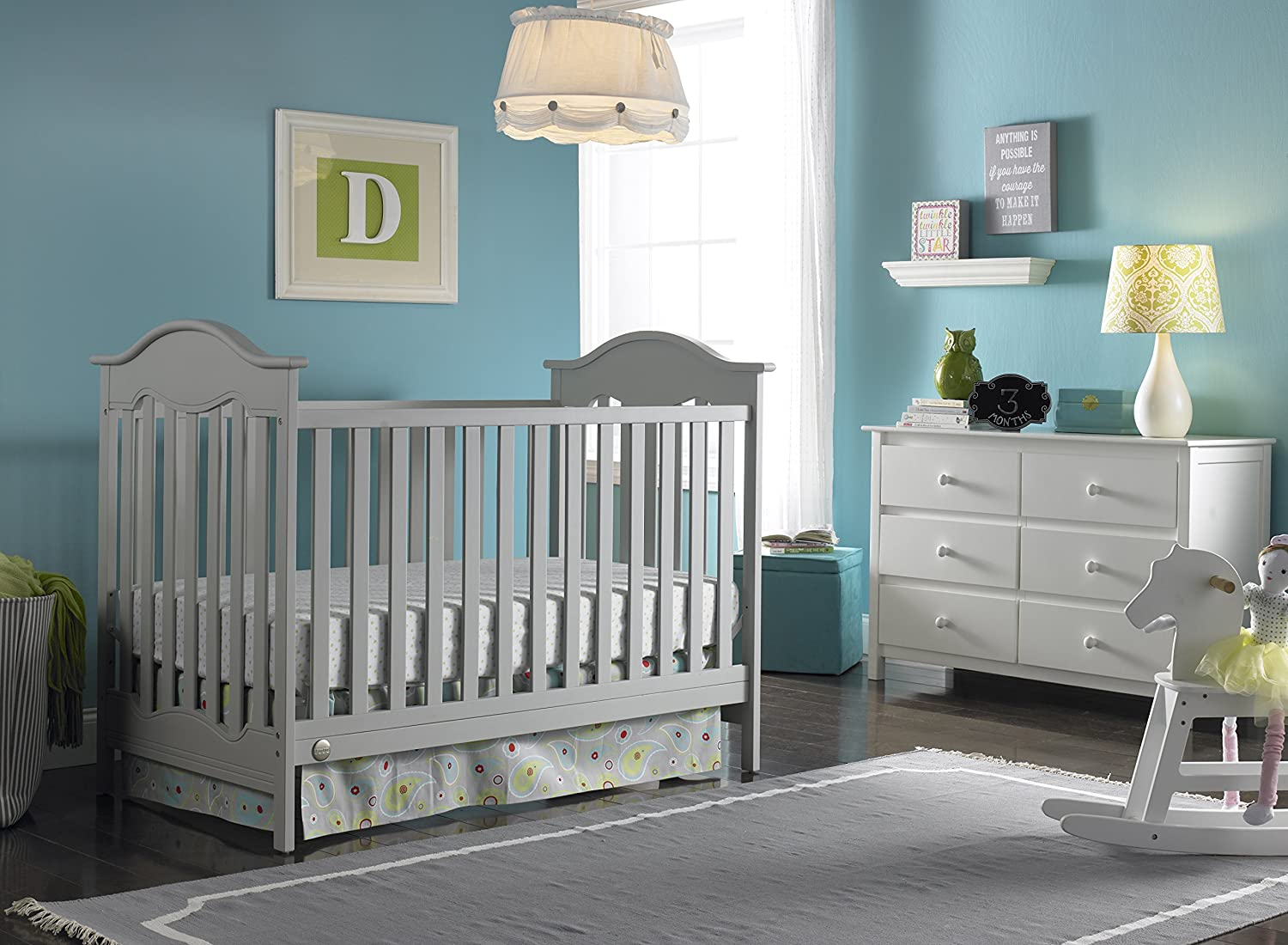 grey furniture nursery. Amazon.com : Fisher-Price Charlotte 3-in-1 Convertible Crib, Misty Grey Baby Furniture Nursery E