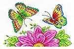 DMC BK1545 Kit de Punto de Cruz de 14 Puntos, diseño de jardín de Mariposas, 25,4 x 16,5 cm, Multicolor
