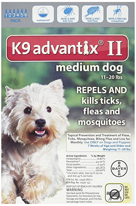 amazon com k9 advantix ii for dogs 11 to 20 lbs 6 months pet rh amazon com