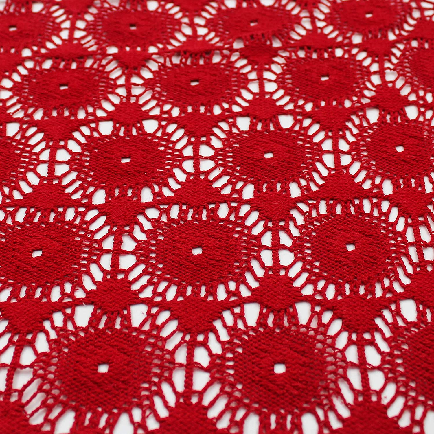 Red Cotton Polyester Lace Fabric - Apple Core
