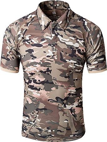 YFNT Camisa Militares De Polo De La Solapa De Los Hombres Camuflaje Camiseta De Manga Corta Camo T Shirt
