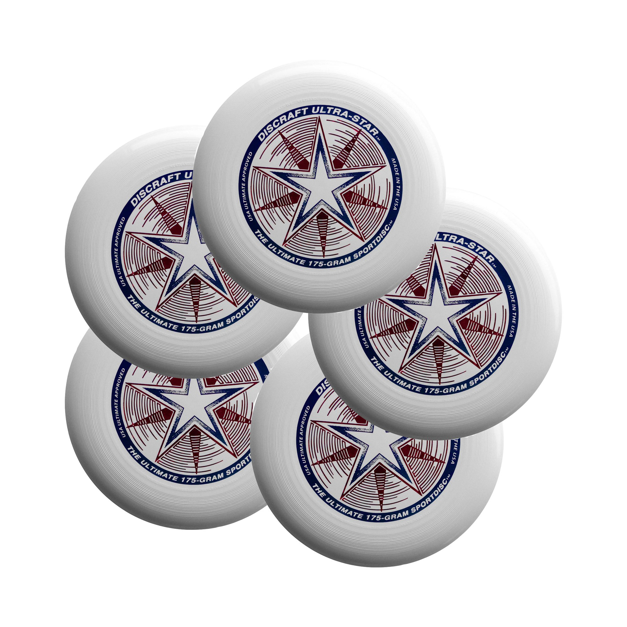 Discraft Ultra-Star 175g Ultimate Sportdisc White (5 Pack) by Discraft