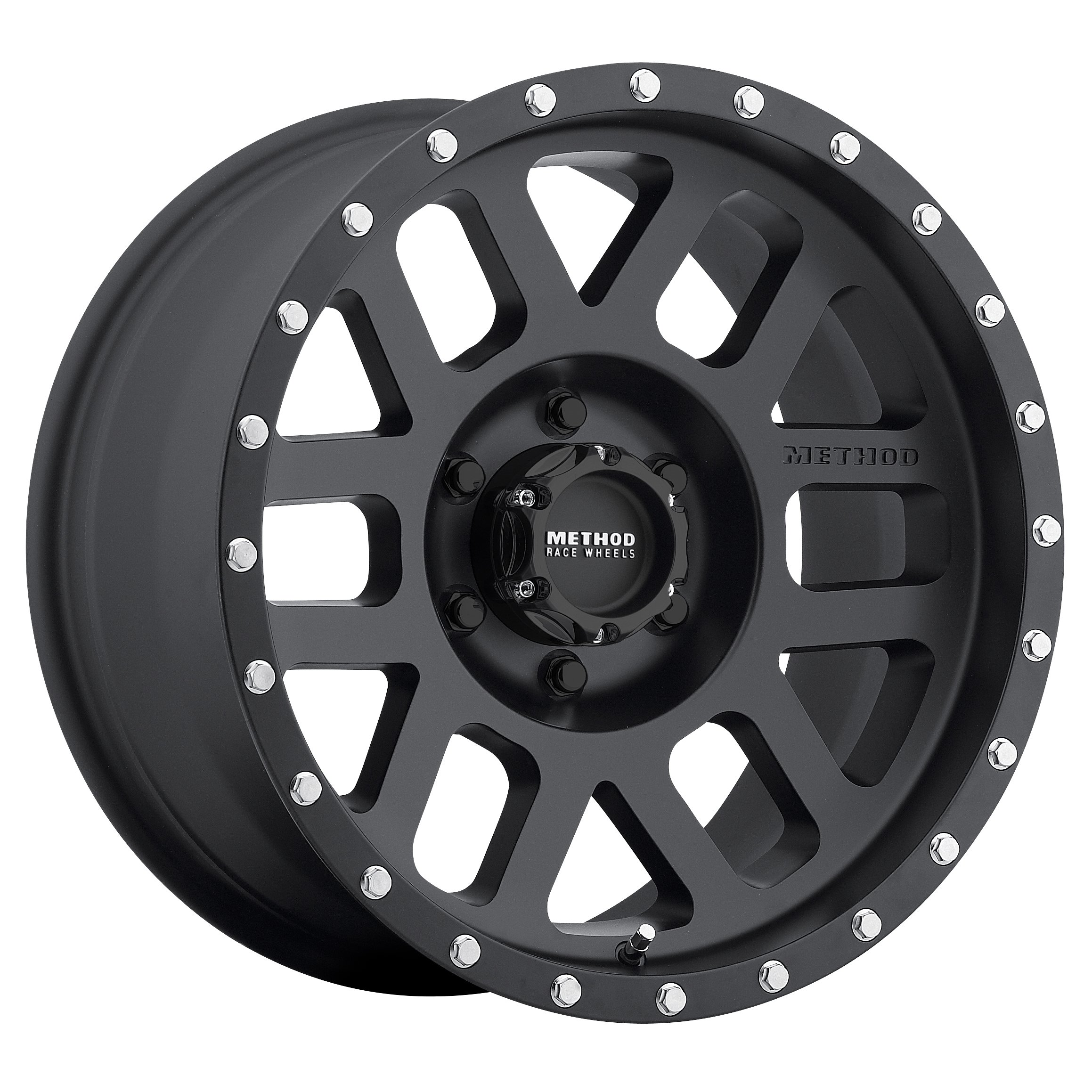 Method Race Wheels Mesh Matte Black Wheel with Stainless Steel Accent Bolts (16x8''/5x4.5'') 0 mm offset