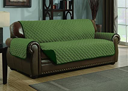 Quilted Reversible Microfiber Pet Dog Couch Furniture Protector Cover  (Sofa, Sage/Hunter Green)