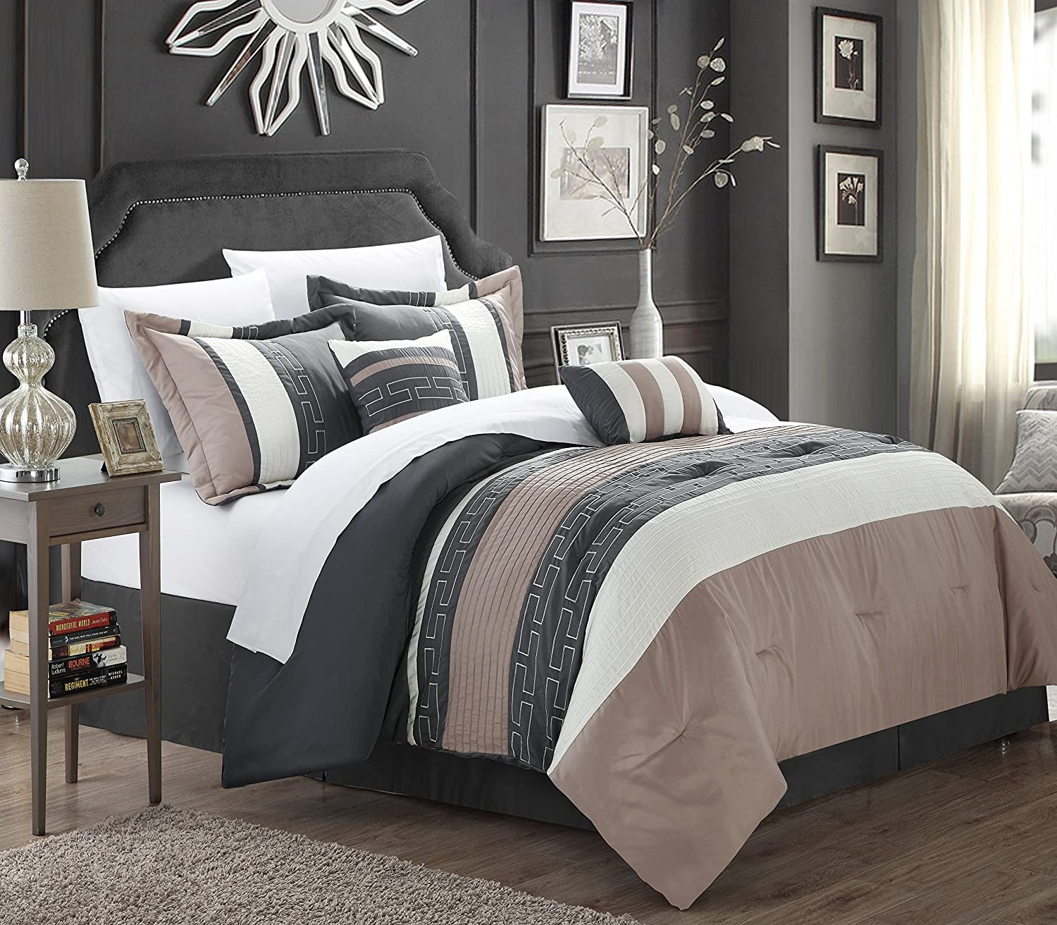 Amazon com chic home carlton 6 piece comforter set king size taupe home kitchen