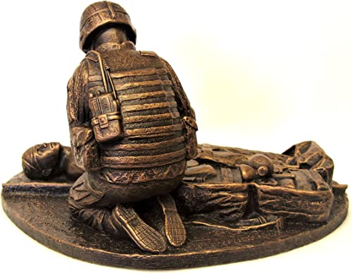 Terrance Patterson Gallery Small Male Combat Medic Statue with Coin Holder, 12 x 9 x 8 inches