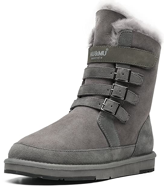 Aumu Womens Classic Thermal Mid Calf Short Winter Snow Boots Grey Size 7 best women's snowboots