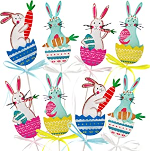Bstaofy Easter Decorations Spring Garden Plant Stakes Bunny Egg Carrot Picks Rabbit Gifts Assortment Fairy Wooden Sticks, Set of 8(Style 3)