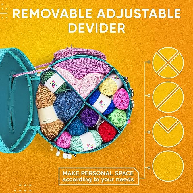 Garn Organizer H/äkeltasche mit Strickzubeh/ör Tasche beste langlebige Leinen-Garntasche Stricktasche zur Aufbewahrung von Garn