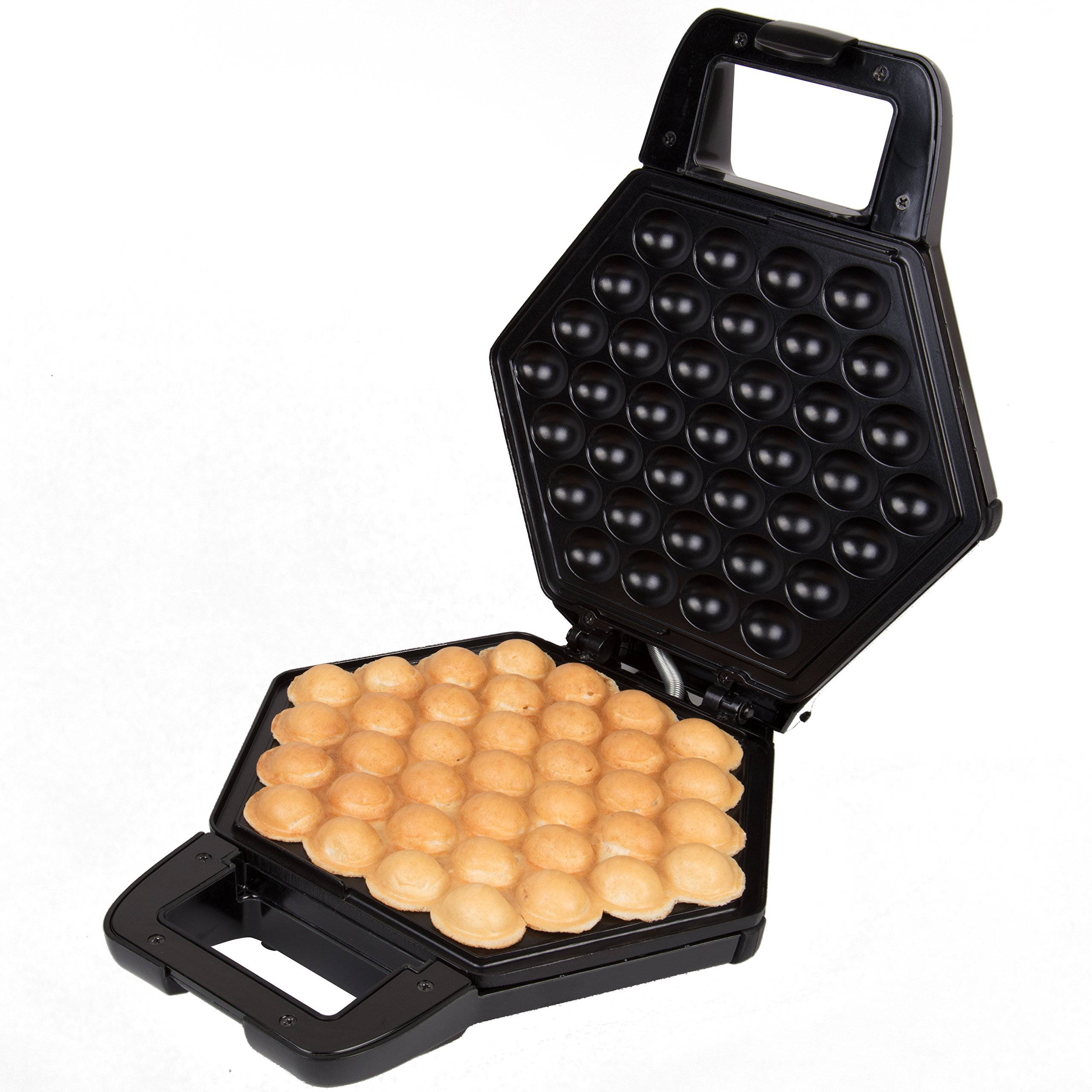Bubble Waffle Maker- Electric Non stick Hong Kong Egg Waffler Iron Griddle (Black)- Ready in under 5 Minutes