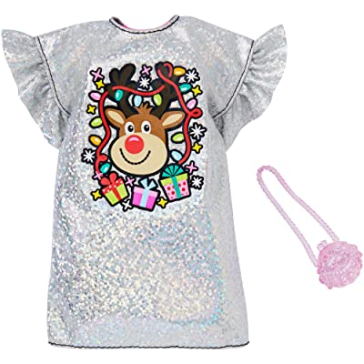 Barbie Holiday Fashion Assortment of Doll Clothes, Complete Outfit Dolls with Silvery Dress with Rudolph Graphic & Purse, Gift for 3 to 8 Year Olds: Toys & Games
