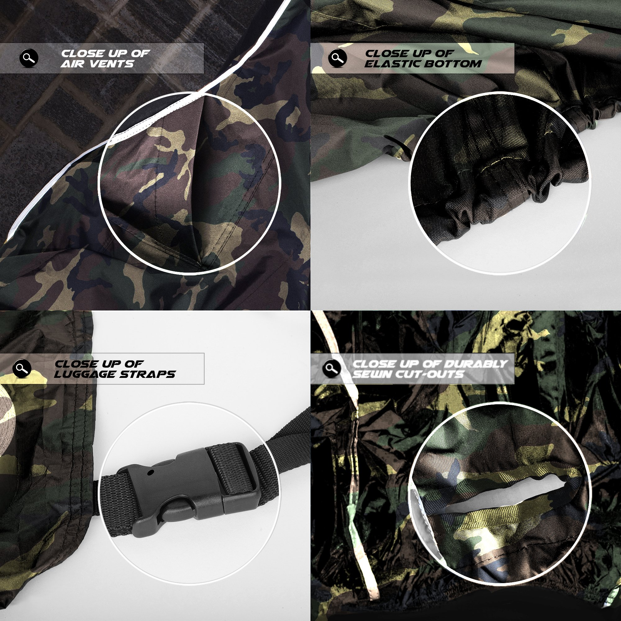 Premium Weather Resistant Covers Waterproof Polyester w/Soft Screen & Heat Resistant Shields.Motorcycle Cover has Lockable fabric, Durable & Long Lasting.Sportbikes & Cruisers (XX-Large, Camouflage) by Nuzari (Image #7)