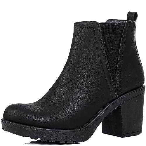 Plataforma Tacón Bloque Chelsea Boots Botines Gr 37: Amazon.es: Zapatos y complementos