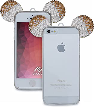 Urcover Apple iPhone SE / 5 / 5s Funda [Orejas de Ratón] Silicona TPU Oro + Plata Funda Carcasa Apple iPhone SE / 5 / 5s [Brillante] Transparente Cristal Móvil Smartphone: Amazon.es: Electrónica