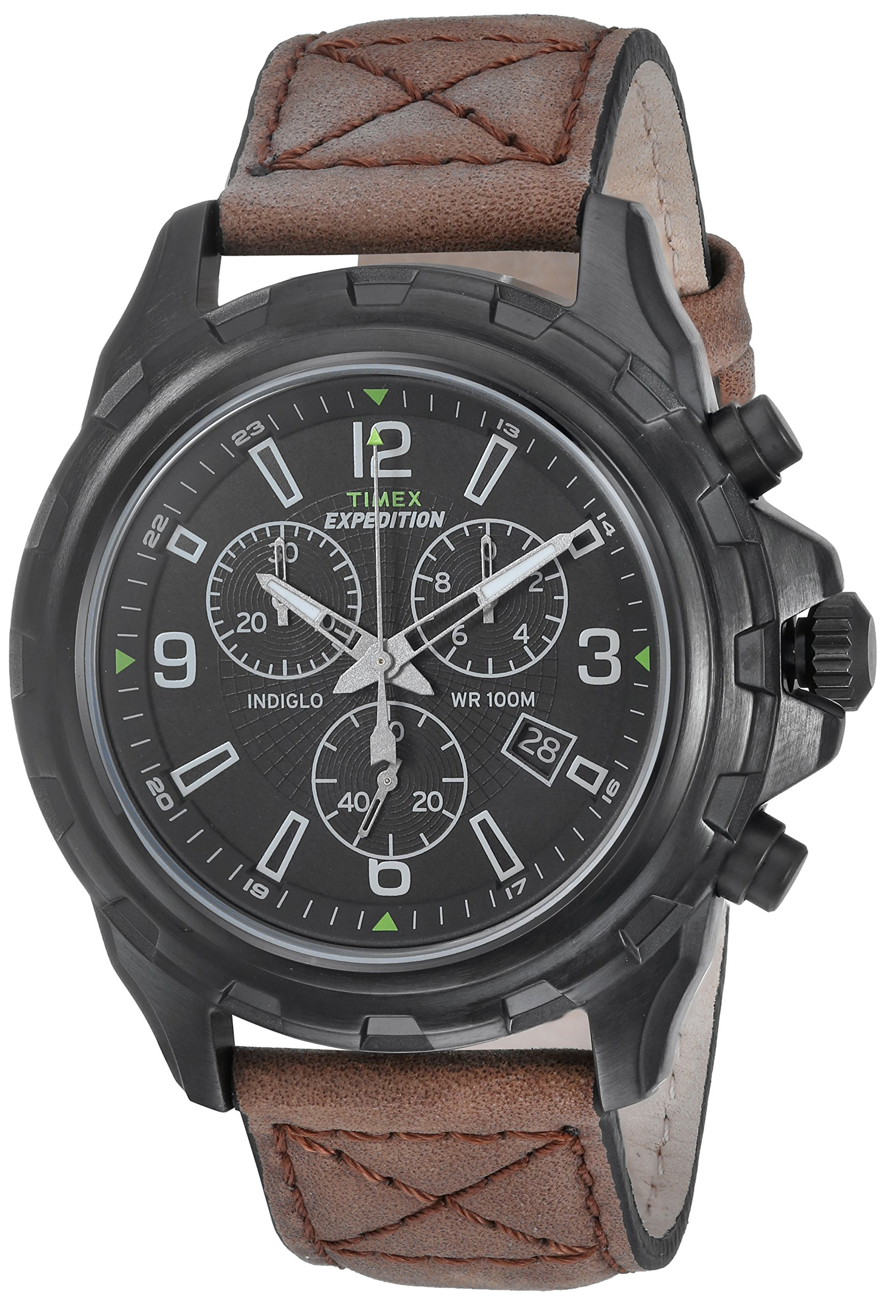 Timex Men's T49986 Expedition Rugged Chronograph Brown/Black Leather Strap Watch by Timex