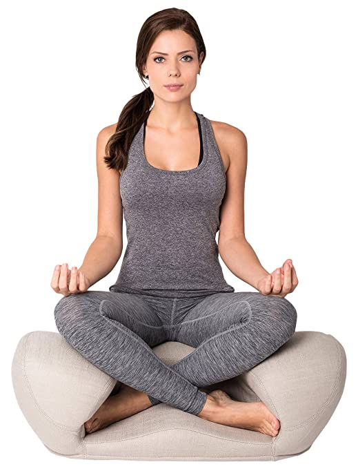 Alexia Meditation Seat Ergonimically Correct for The Human Physiology Zen Yoga Ergonomic Chair Foam Cushion Home or Office (Beige - Fabric)