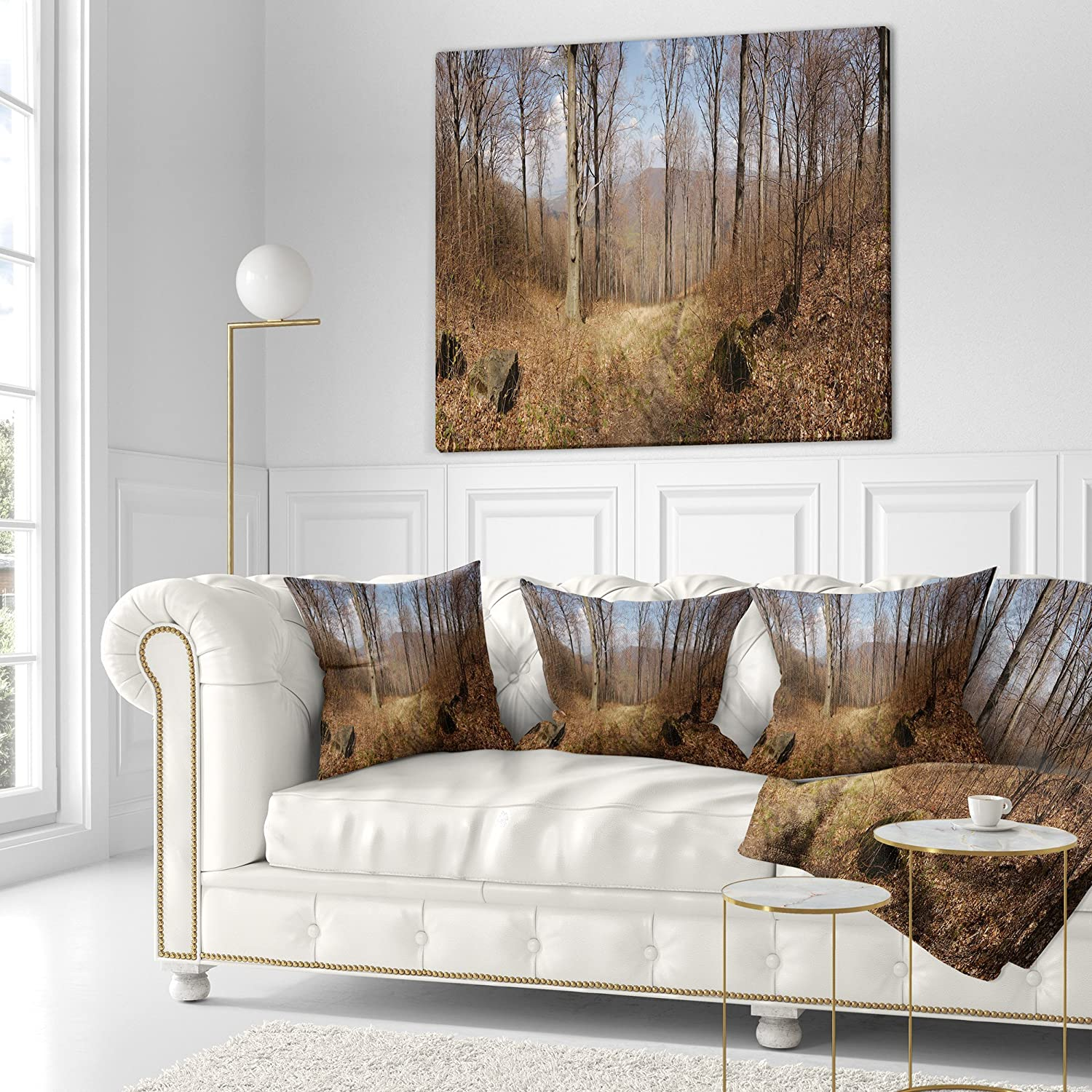 x 16 in Insert Printed On Both Side Sofa Throw Pillow 16 in Designart CU11764-16-16 Scenery with Bare Trees Modern Forest Cushion Cover for Living Room in