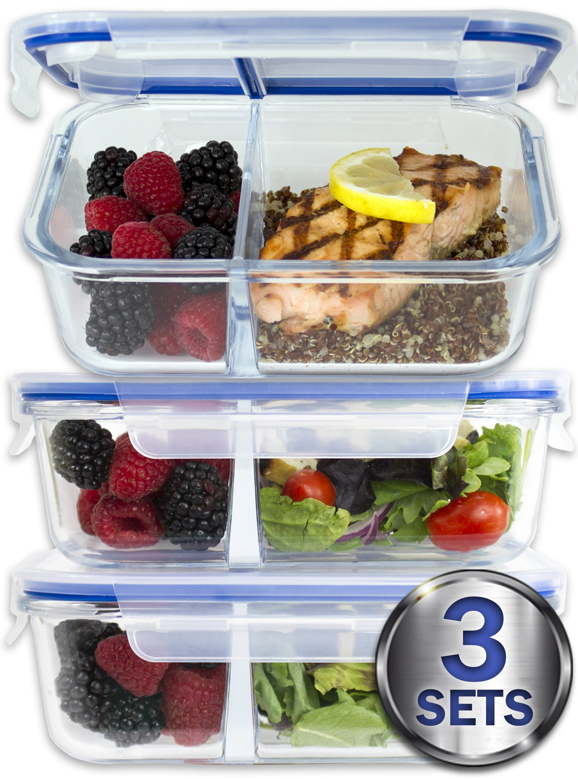 [Large Premium 3 Pack] 2 Compartment Glass Meal Prep Containers w/New Divider Seal Tech Best Quality Snap Locking Lids Airtight 8 Pcs Glass Set BPA-Free (5 Cups, 36 Oz) by Misc Home