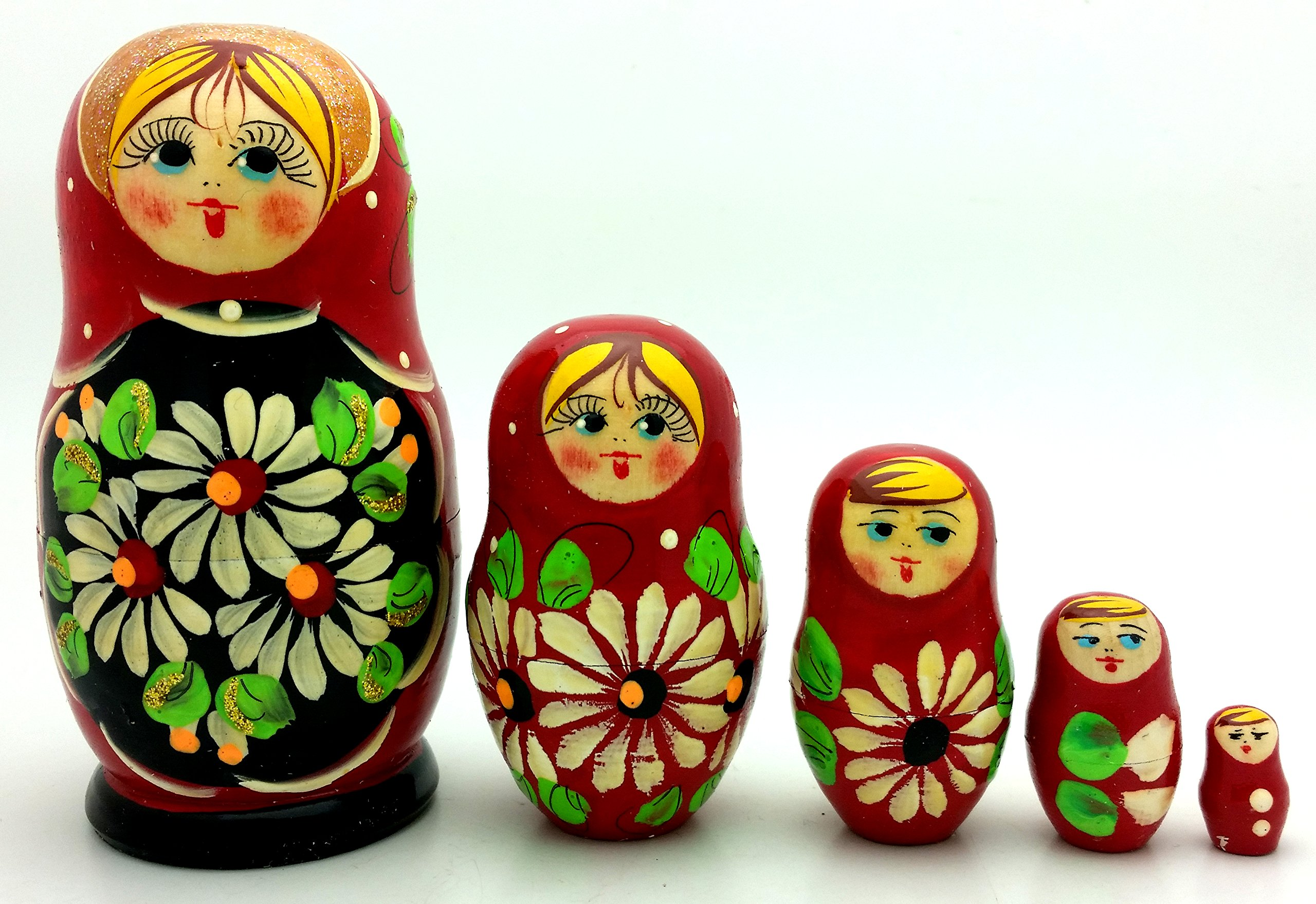 Lot of 3 Sets Russian Traditional Nesting Stacking Wooden Dolls Each Matryoshka Babushka set contains 5 dolls by BuyRussianGifts (Image #5)