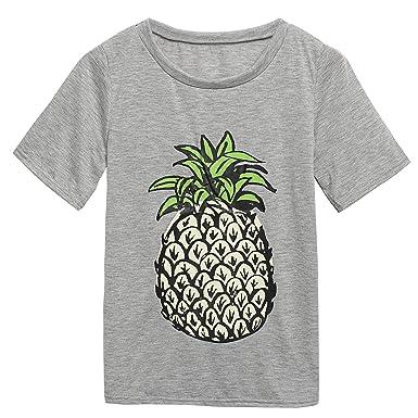 T-Shirt Tops Kurz,Sondereu Frauen Mode mit Ananasmuster Kurzarm ...
