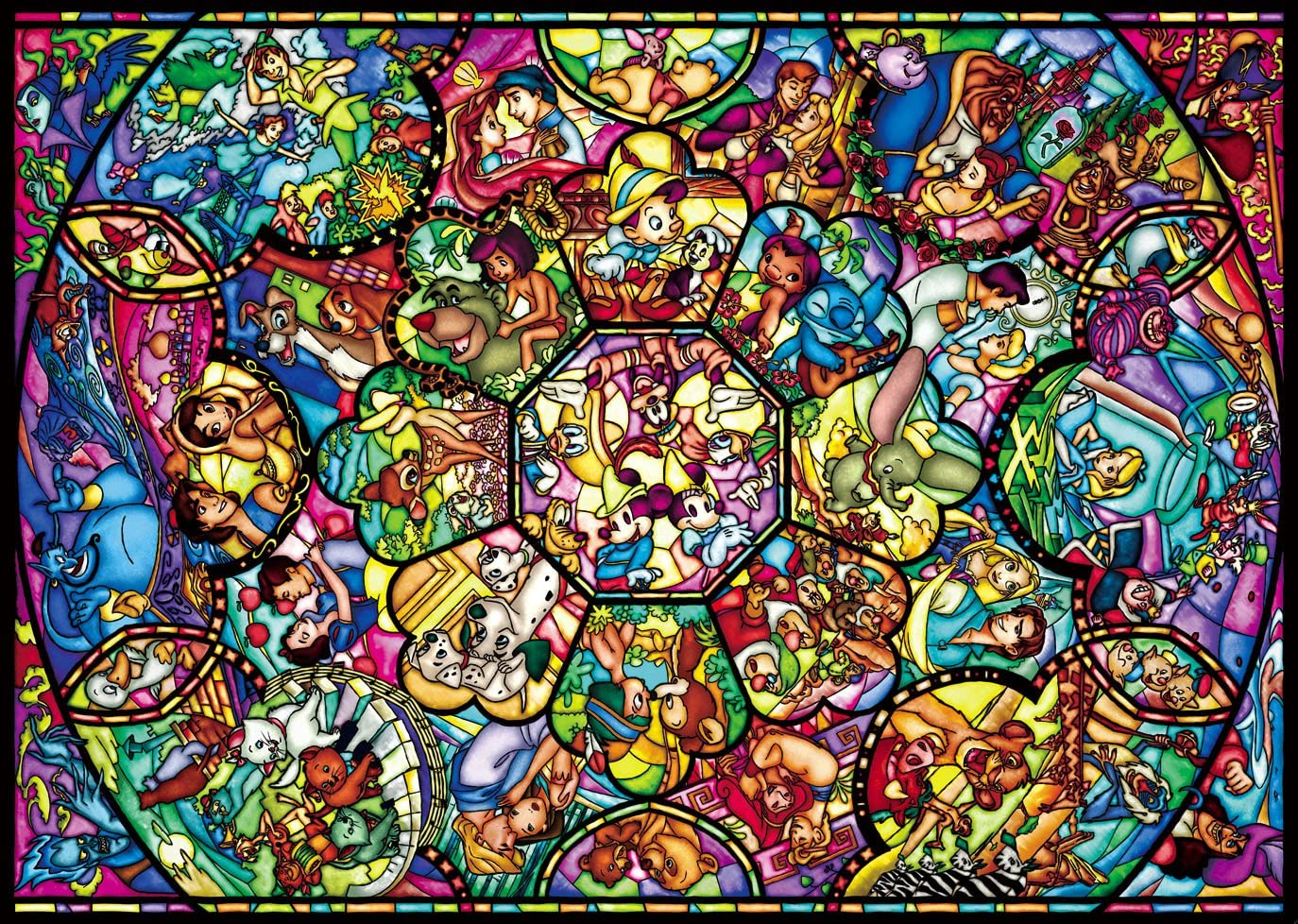 266 Piece 266 piece Disney characters Pure White All-Star Stained Glass 18.2×25.7cm